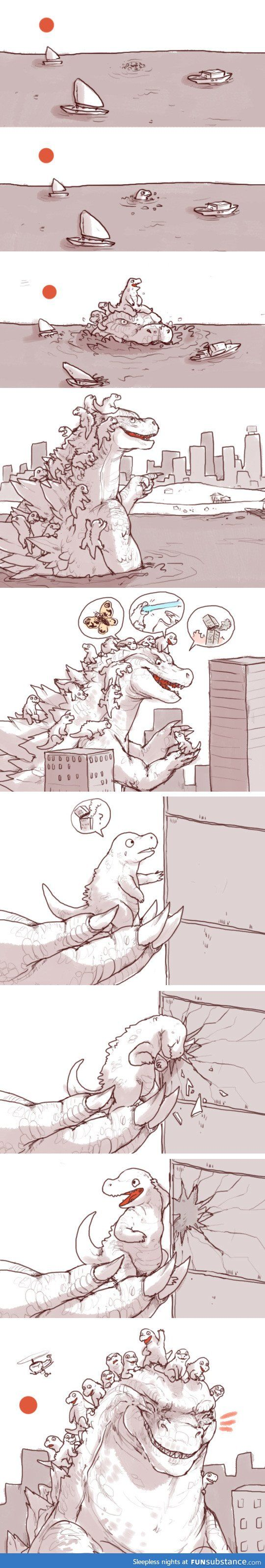 That is cute!.Godzilla's expression in the last panel is priceless. Proud papa.