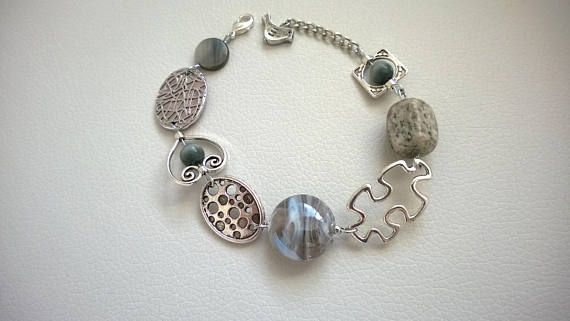 FREE SHIPPING Asymmetrical bracelet Gray jewelry gray