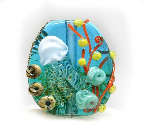 Jellyfish bead Marine life pendant Blue Green Lampwork focal