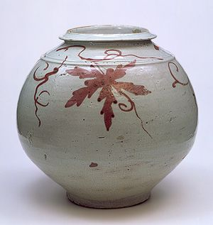 Jar, Joseon dynasty (1392–1910), 18th century Korea Porcelain with underglaze copper-red decoration of grapevine