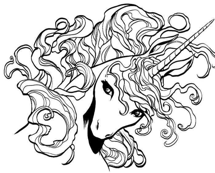 Pretty Unicorn Head Drawing For Coloring Page.