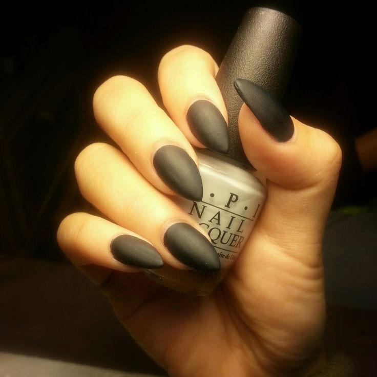 Almond shaped nails. Matte nails. Pointy nails. Matte black nails #CrytolNailBar