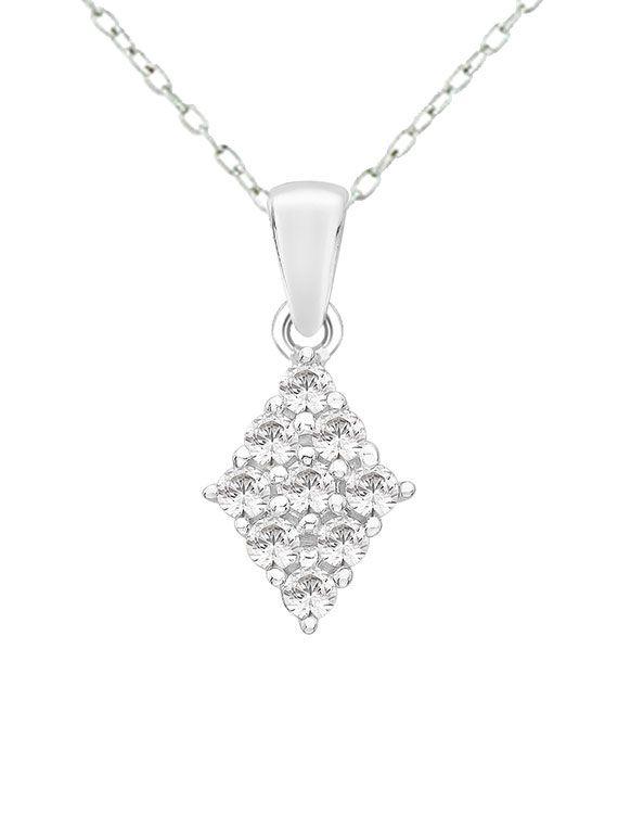 Rhodium Finished Silver & Swarovski Zirconia Cluster Necklace