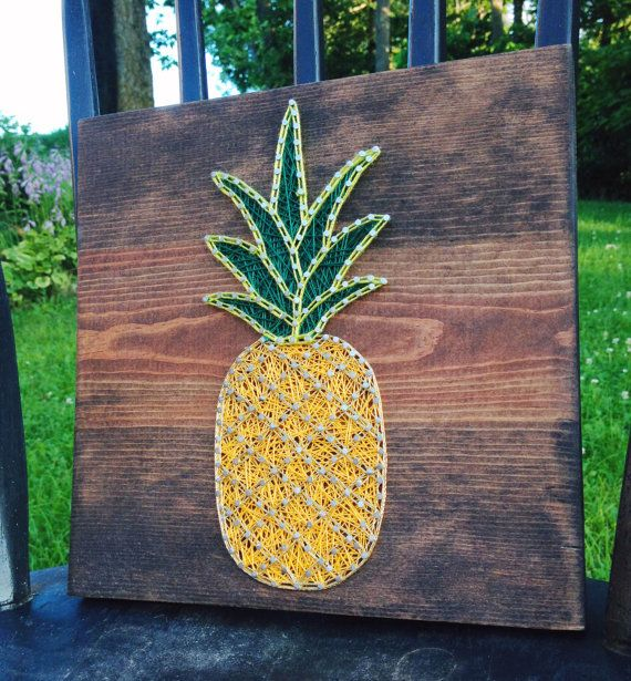 Arent these super cute? These little guys are sure to brighten up your home!  This listing is for one 10x10 Pineapple string art. You can choose the