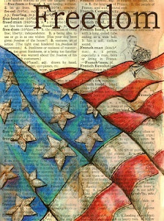 """Freedom"" mixed media drawing on distressed, dictionary page  Prints available from Etsy.com/shop/flyingshoes"