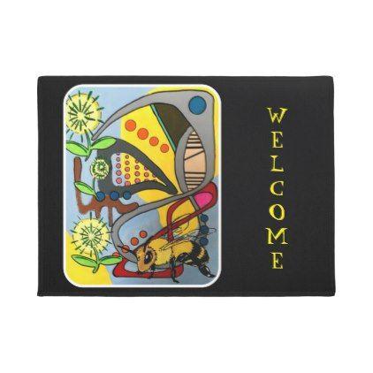 #'MidCentury Mod Abstract Garden Bee' painting on a Doormat - #doormats #home & #living