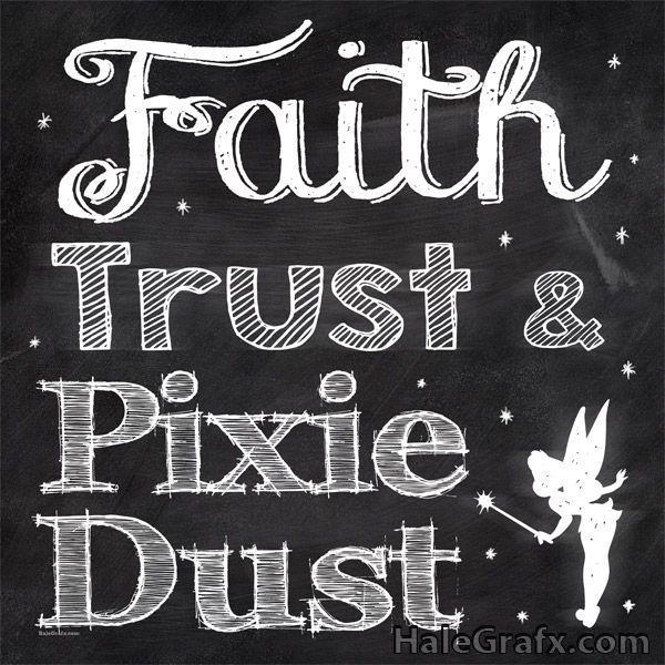 FREE Printable Peter Pan Tinkerbell chalkboard art
