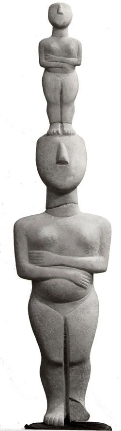 """Looking back so many thousands of years, it seems as if humanity's first image of life was the mother. This must go back to a time when human beings experienced themselves as the children of nature, in relationship with all things, part of the whole."" (Baring and Cashford, The Myth of the Goddess) - Art: Cycladic Mother and Childc.2800-2700 B.C.Katona Museum of Art"
