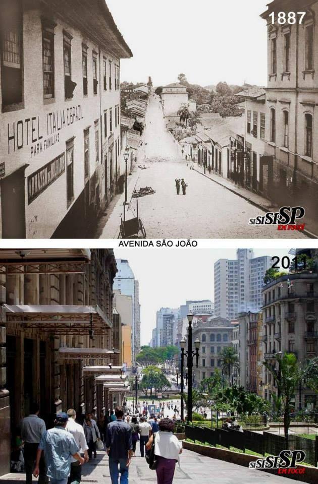 A foto de cima, feita por Militão de Azevedo, mostra a antiga rua de São João, em 1887, tomada desde o cruzamento com a São Bento. Abaixo, do mesmo local, fiz essa foto, que mostra a rua, depois avenida, que foi alargada na segunda década do século passado. Atualmente, todo esse trecho avistado, é uma calçadão para pedestres.