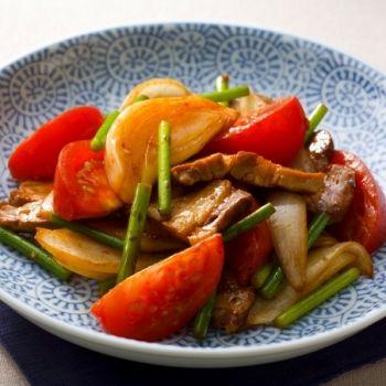トマトと豚肉の中華炒め