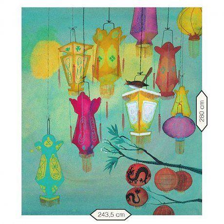KEK Amsterdam Behang Chinese Lanterns multicolour vliespapier 243,5x280cm