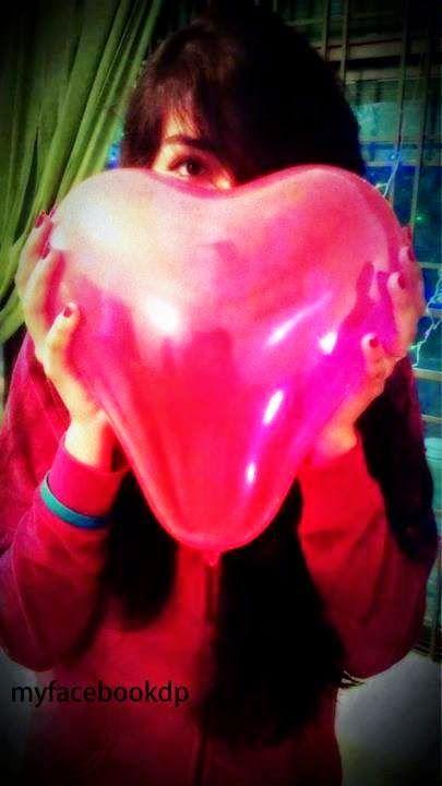Girl Hide Face FB DP With Heart Baloon - Facebook Display ...