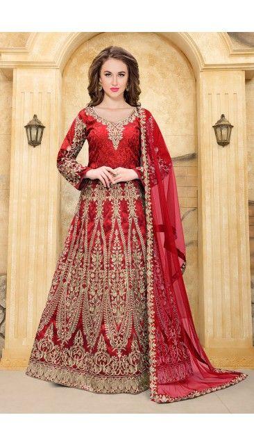 Red Taffeta Anarkali Churidar Suit With Dupatta - DMV14916