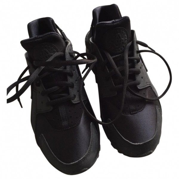 Black Trainers NIKE ($87) ❤ liked on Polyvore featuring shoes, sneakers, clothes - shoes, kohl shoes, nike, black trainers, black shoes and black sneakers