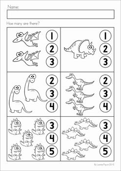 Dinosaur Preschool Math and Literacy No Prep worksheets and activities. A page from the unit: counting.