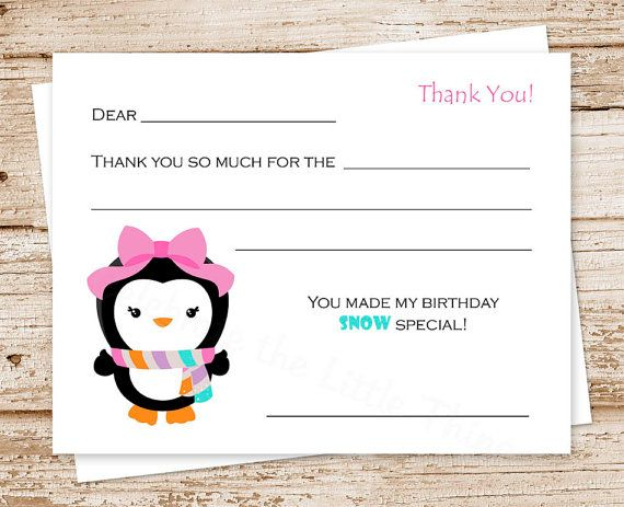 29 best fill in the blank thank you cards for kids images on printable penguin thank you cards fill in the blank thank you girl penguin winter wonderland birthday you print reheart