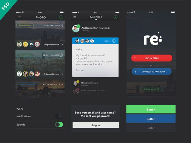 Re is a free UI kit for apps including many useful elements. Free PSD designed and released by Anton Skugarov.