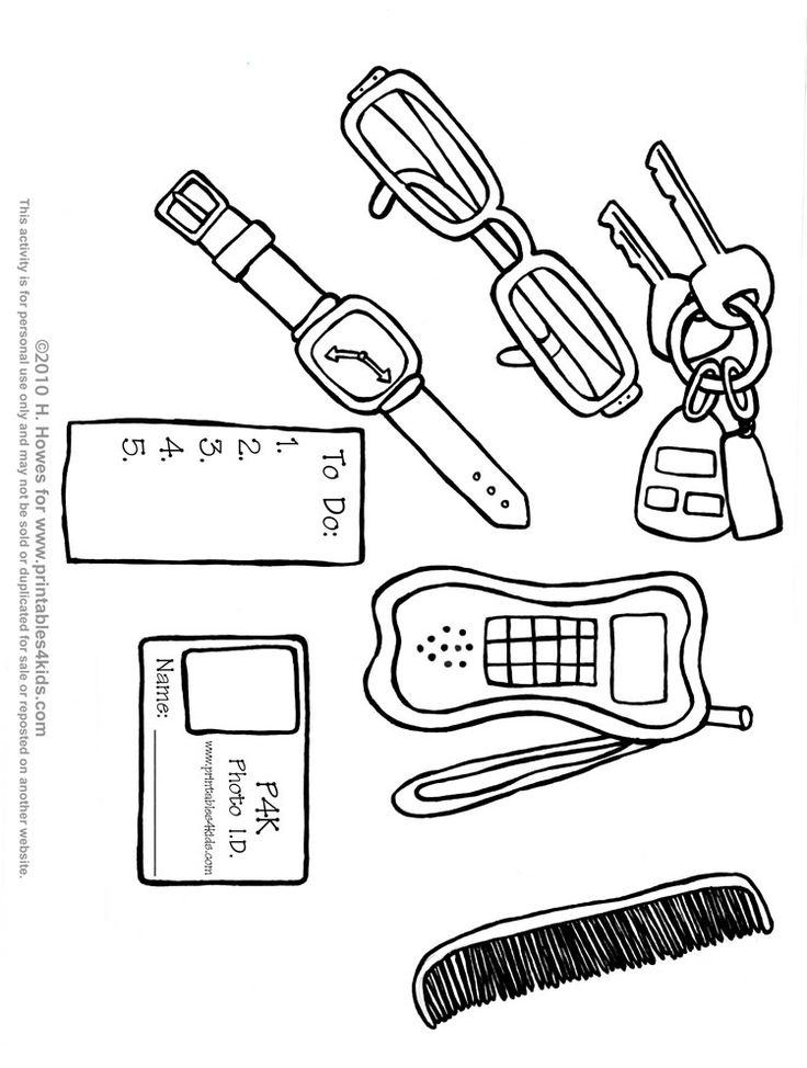 Printable Father's Day keys, watch, cell phone, ID card