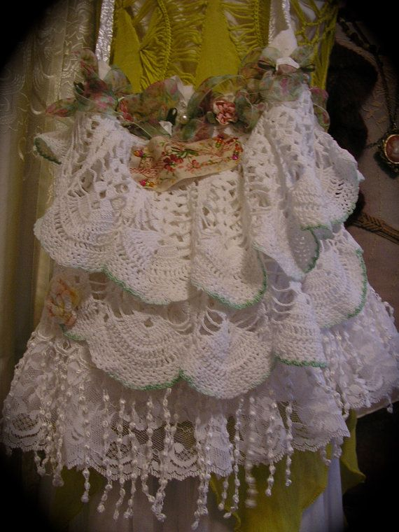 Layered Doily Handbag white fringe crocheted by TatteredDelicates, $89.00