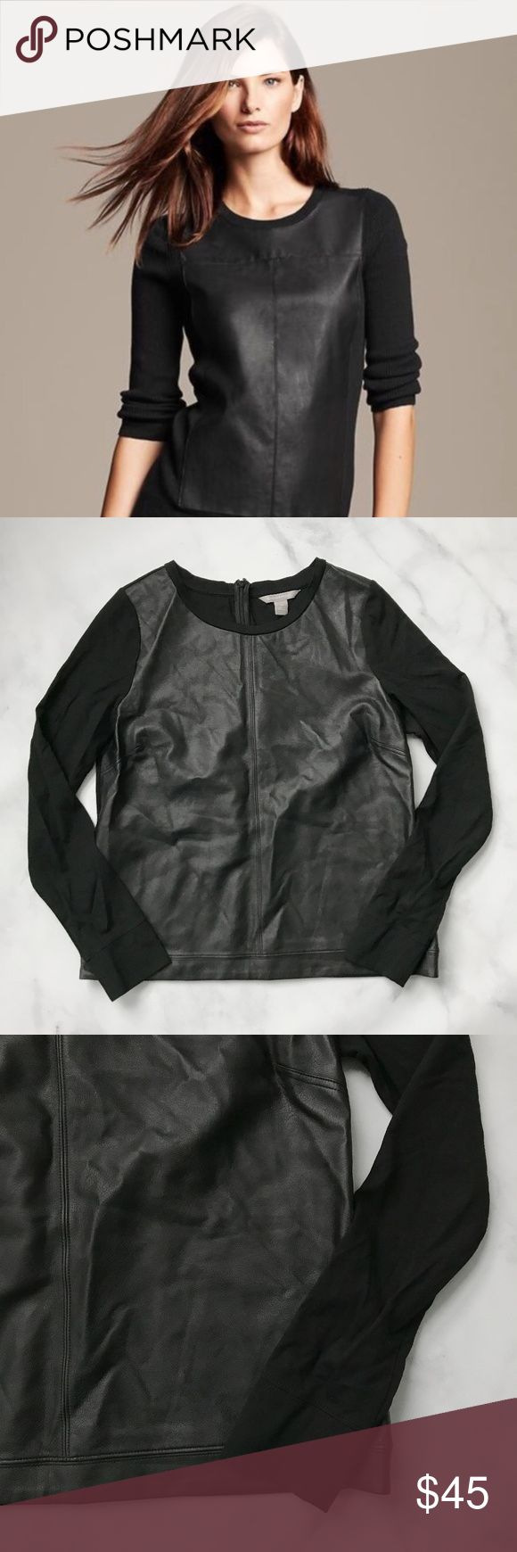 Banana Republic Faux Leather Long Sleeve Top Comfy yet chic faux-leather top from Banana Republic. Leather panel is on the front. Sleeves and back are black sweatshirt material. Size M. Excellent condition. No damage. Banana Republic Tops Tees - Long Sleeve