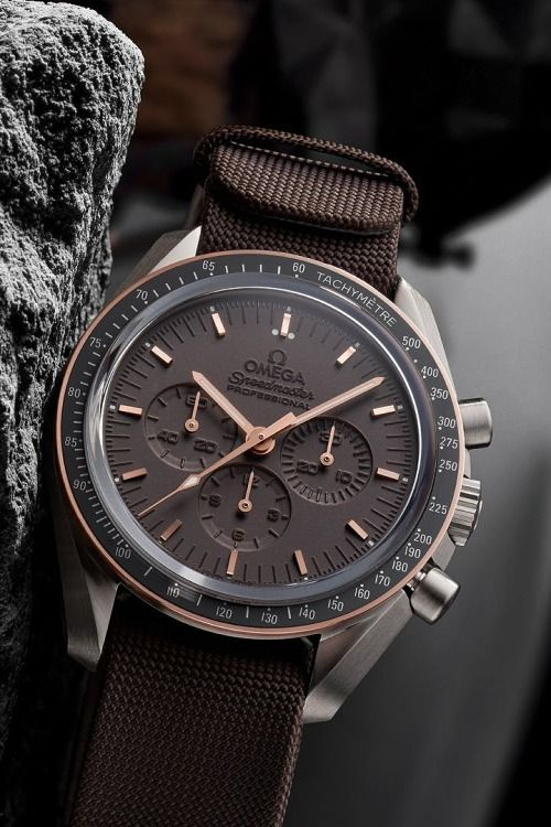 Omega Speedmaster... I would prefer a dark brown leather strap on this magnificent timepiece.