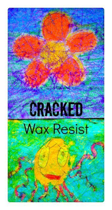 Cracked Wax Resist Art- unique art project for children! Involves crumpling the paper! #artprojectsforkids