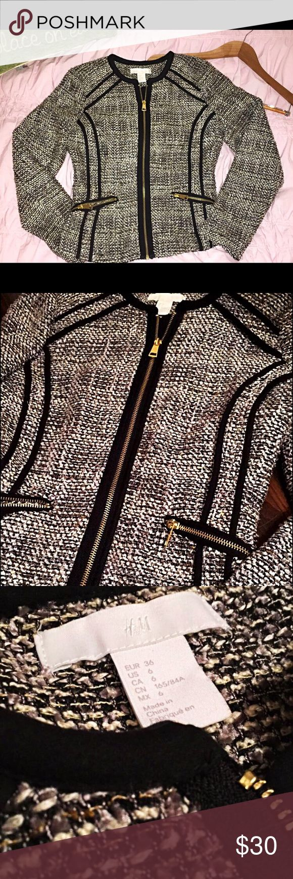 Multicolor zip up slimming blazer Grey, black, and white multicolor women's zip up blazer with gold hardware only worn once (size in person: comparable to women's small/ X-small) H&M Jackets & Coats Blazers