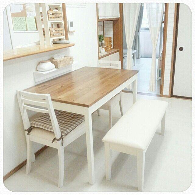 IKEAダイニングテーブル/バターミルクペイント…などのインテリア実例 ... 女性で、3LDKのIKEAダイニングテーブル/バターミルクペイント/ダイニングテーブル/