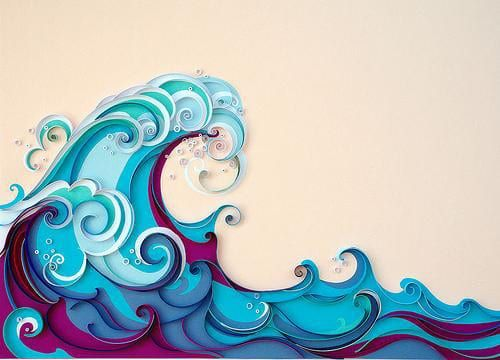 imagenes de olas de mar en caricatura