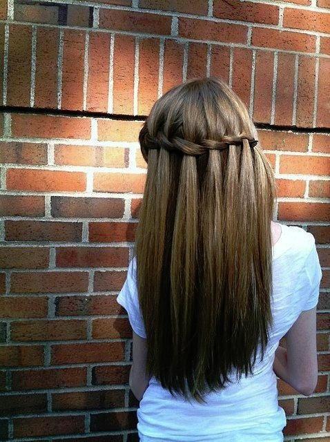 waterfall braid with straight hair