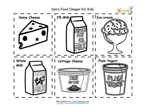 Dairy Food Cards For Children Images Kids To Cut Out And Create Their