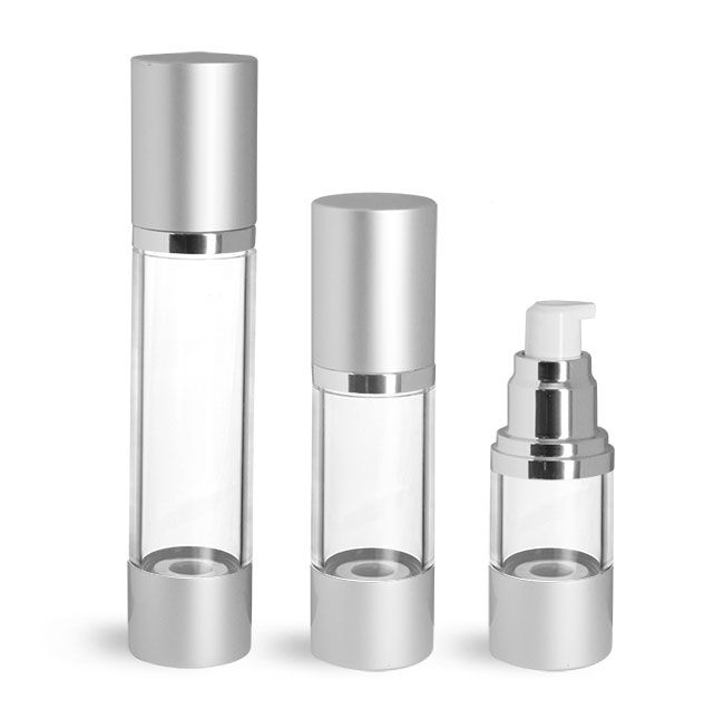 Clear AS Airless Pump Bottles w/ Silver Pumps