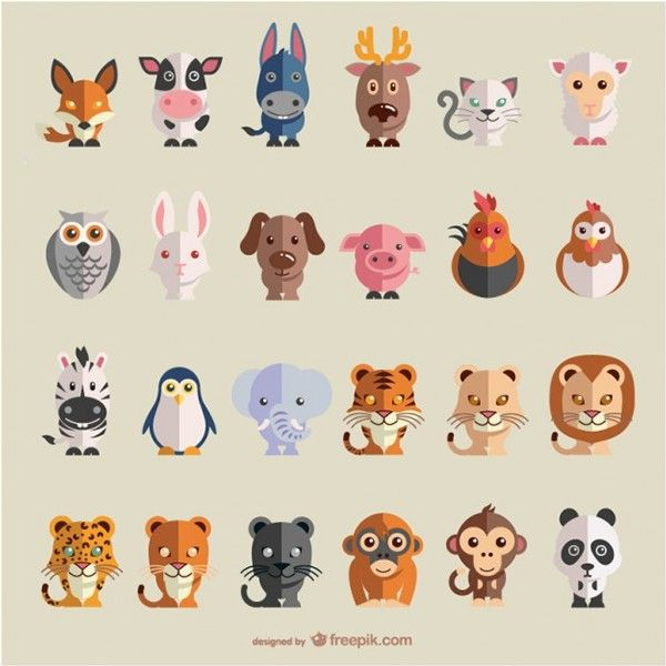 Animals flat vector set by Freepik, via Behance