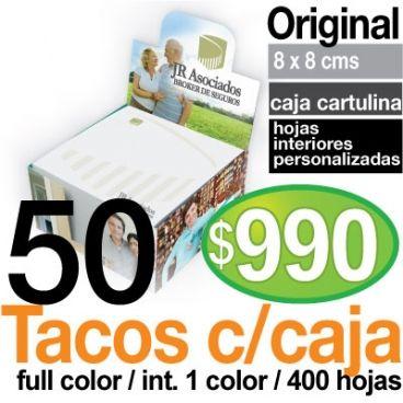 Tacos de papel con caja personalizados