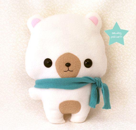 """Plushie Sewing Pattern PDF Cute Soft Plush Toy - Coco Bear Stuffed Animal 13"""""""