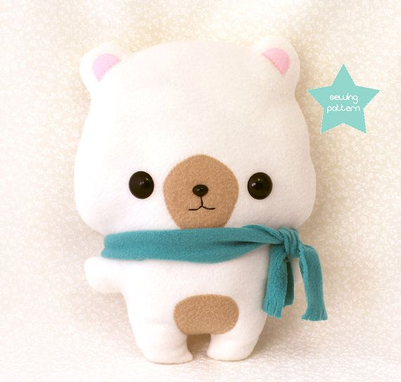 PDF bear plush sewing pattern - Easy kawaii DIY stuffed animal - cute anime character 13""