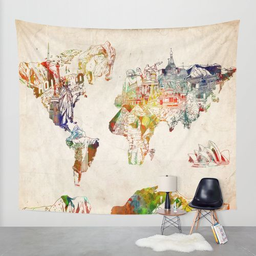 Map Of The World Large Tapestry – HIRX