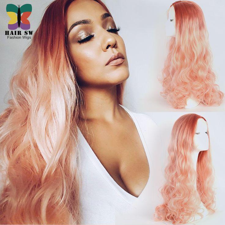 Pêche Rose Ombre Synthétique cheveux Vague de Corps Avant de Lacet Perruque longue naturel dégarni deux cheveux de ton style résistant à La Chaleur pour femmes