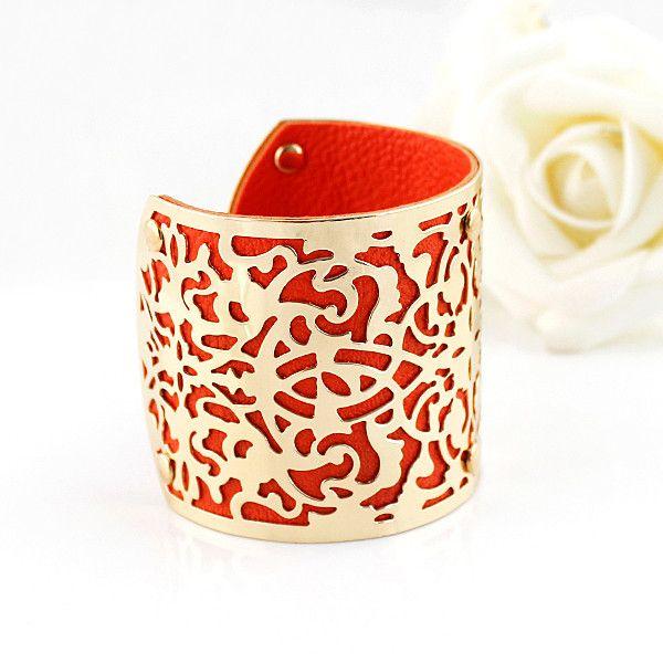 Винтажный Стиль Китайский Традиционный Дизайн Манжеты Браслеты Золотой Цвет PU Кожаные Браслеты Для Женщин 2016 Выдалбливают Дизайн купить на AliExpress