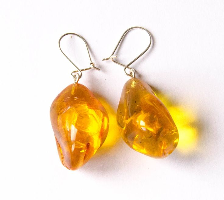 Amber  Earrings, Hängeohrringe, Sterling Silver 925, nugget,Yellow, honey, transparent, Bernsteinohrringe, Silber, Bärnsten, ambre, Handmade von DiesAndDas auf Etsy