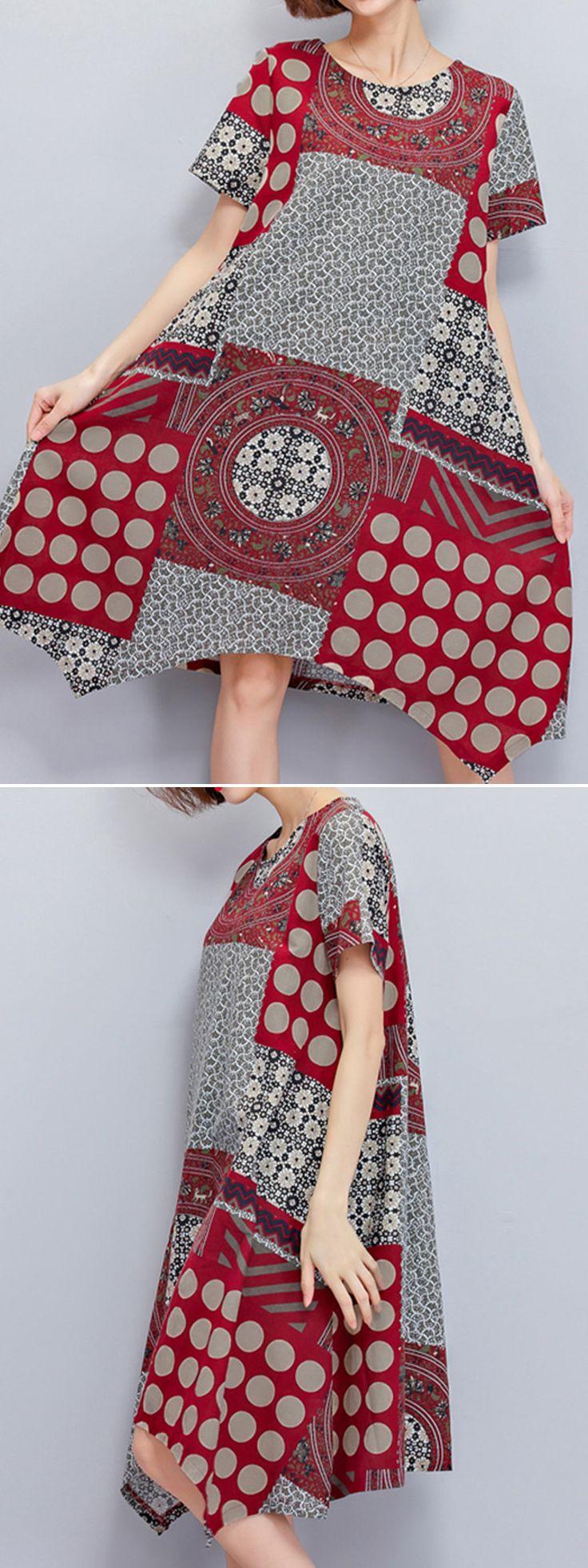 US$ 18.32 Ethnic Printed Irregular Hem Short Sleeve Vintage Dresses