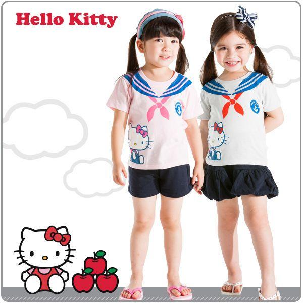 Девочки-младенцы Hello Kitty морской синий стиль серии галстук-бабочка печать футболки + брюки костюм девочки комплект 5 комплект / много