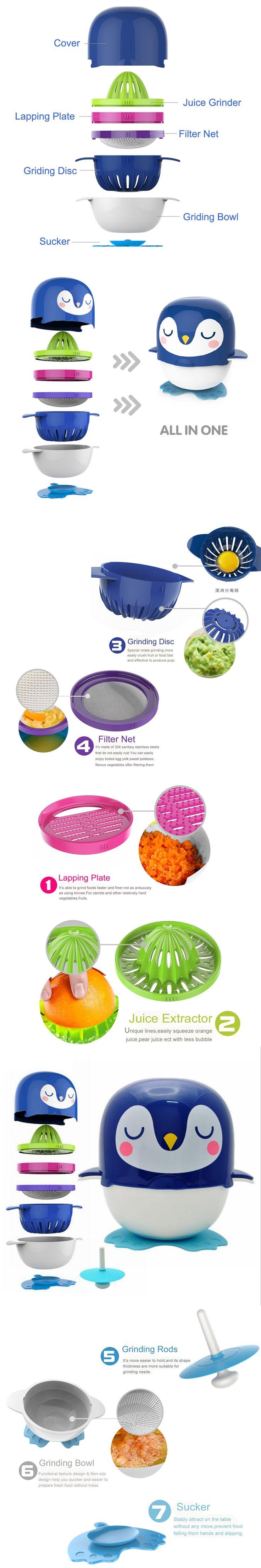 7Pcs/Set Baby Food Mills Baby Food Manual Processor Mills infantil Food Grinder For Fruit Juicer Prato Vegetable For Kitchen