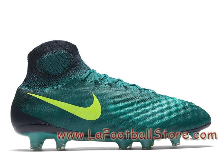 Nike Magista Orden II FG Turquoise Rio Chaussure de football à crampons Nike Pas cher pour terrain sec pour Homme Jade transparent/Volt 844595_375