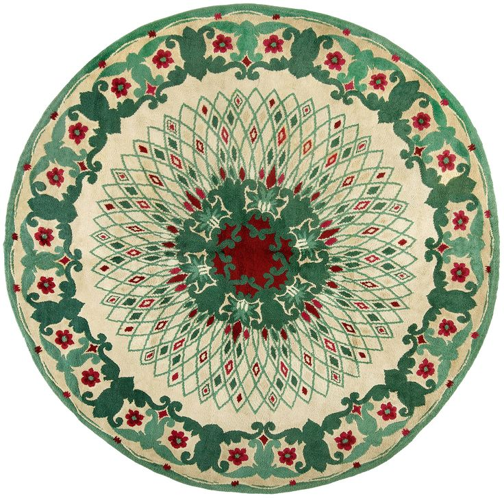 Vintage Rugs, vintage rug green and round designed by Paule Leleu, for vintage elegant living room interior decor