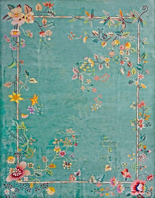 This would be really pretty on a dining room table.  Chinese Art Deco carpet  -  circa 1930 (source unknown and unverified - it could be a modern reproduction for all I know, but either way, it's still pretty!)