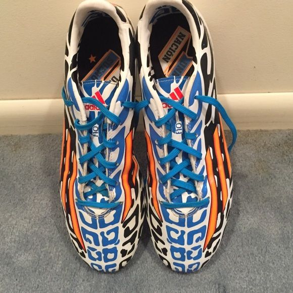 Adidas f10 messi World Cup Edition Adidas f10 messi World Cup Edition Limited edition 2014 World Cup boots based off of messi design and play worn 1/2 a game and never used again can be easily cleaned by me upon request Would be open to trade for nice running shoes or high end soccer cleats Adidas Shoes