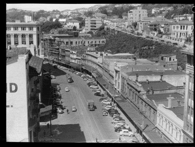 Lambton Quay a street of commerce Gentlemen settlers built their residences on The Terrace (behind) 1950s