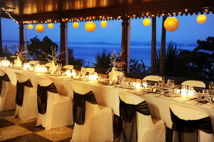 Villa Botanica's intimate indoor wedding reception venue but complete with ocean views.