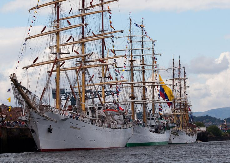 Tall ships moored in the Great Harbour, Greenock on the Clyde